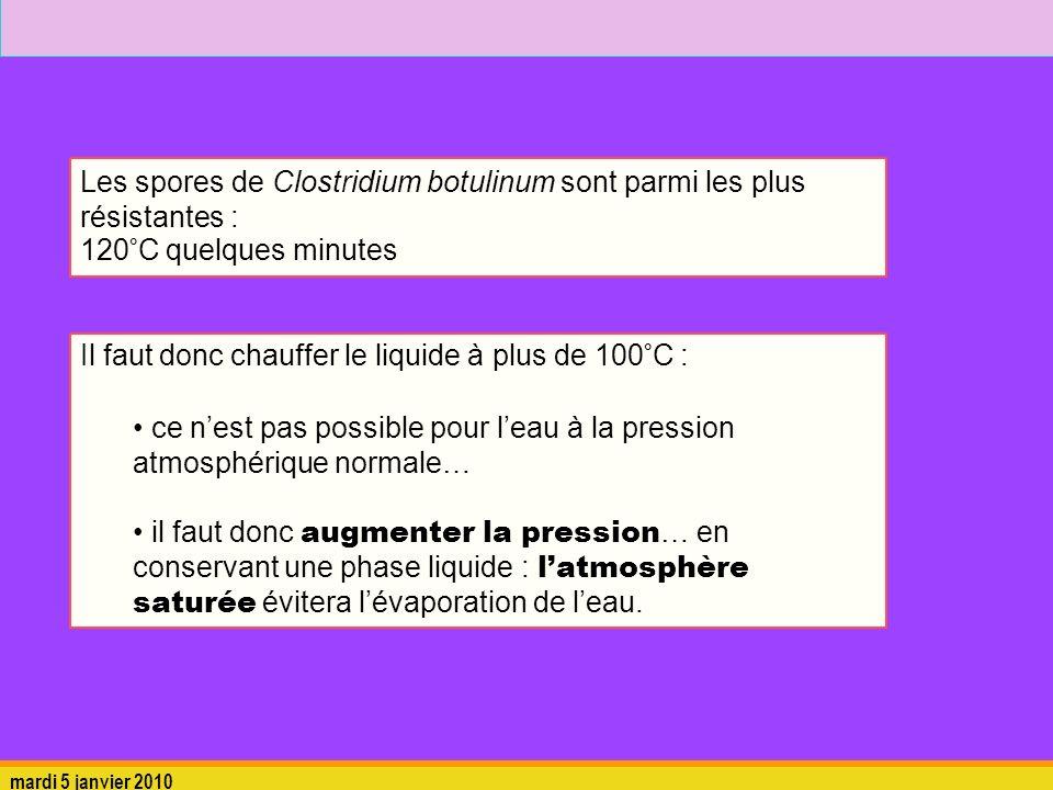 Les spores de Clostridium botulinum sont parmi les plus résistantes :