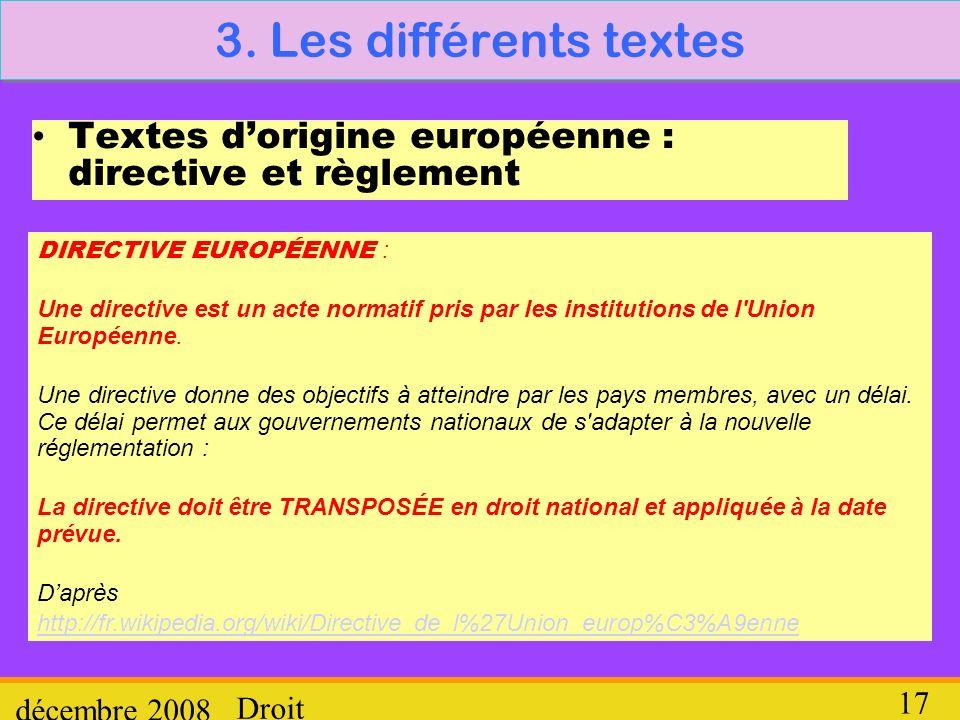 3. Les différents textes Textes d'origine européenne : directive et règlement. DIRECTIVE EUROPÉENNE :