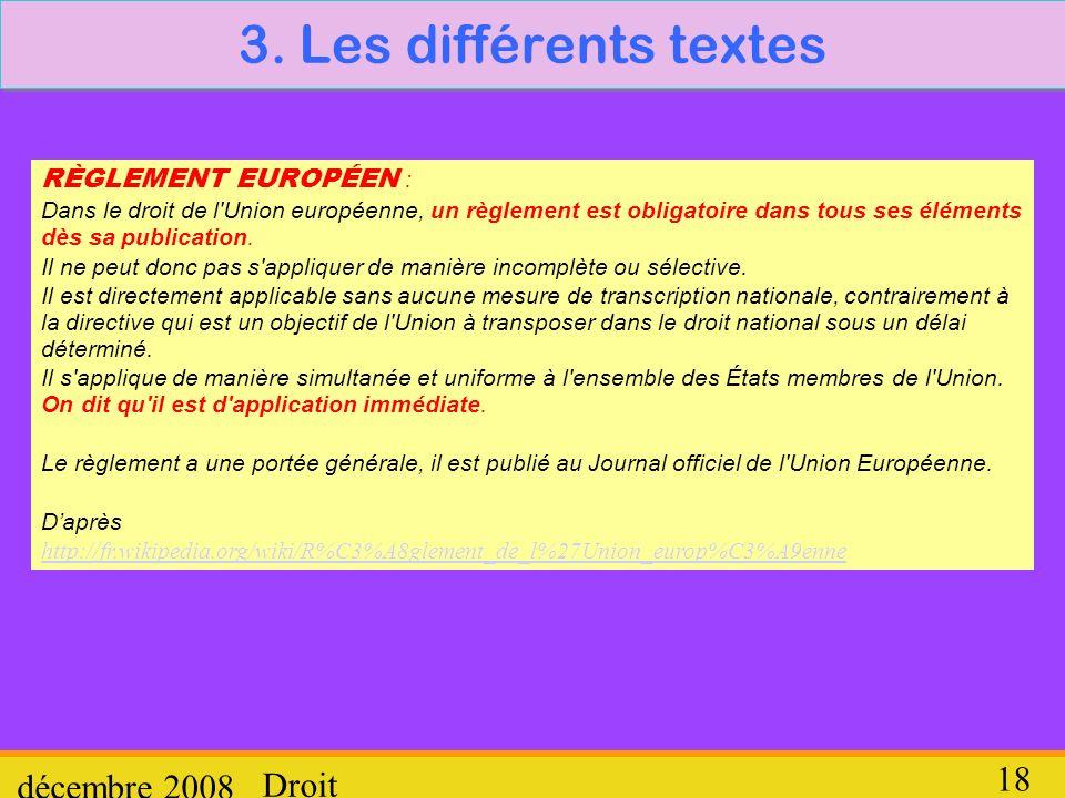 3. Les différents textes décembre 2008 Droit RÈGLEMENT EUROPÉEN :