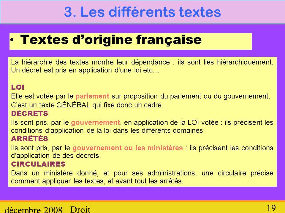 3. Les différents textes Textes d'origine française décembre 2008
