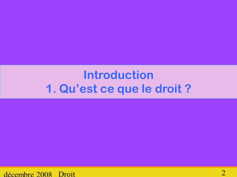 Introduction 1. Qu'est ce que le droit