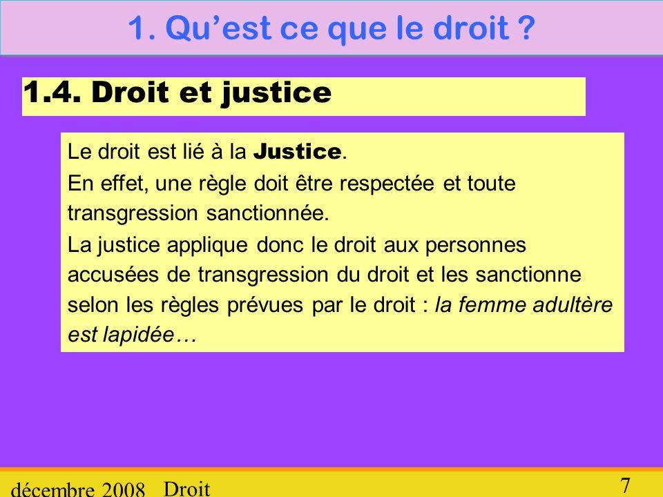 1. Qu'est ce que le droit 1.4. Droit et justice