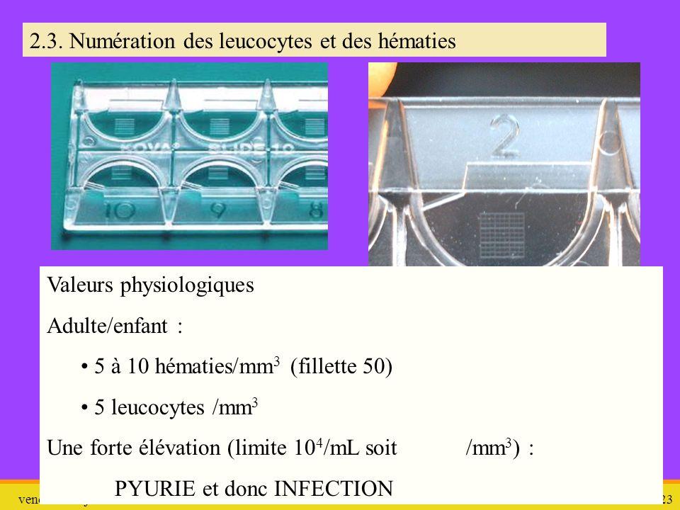 2.3. Numération des leucocytes et des hématies