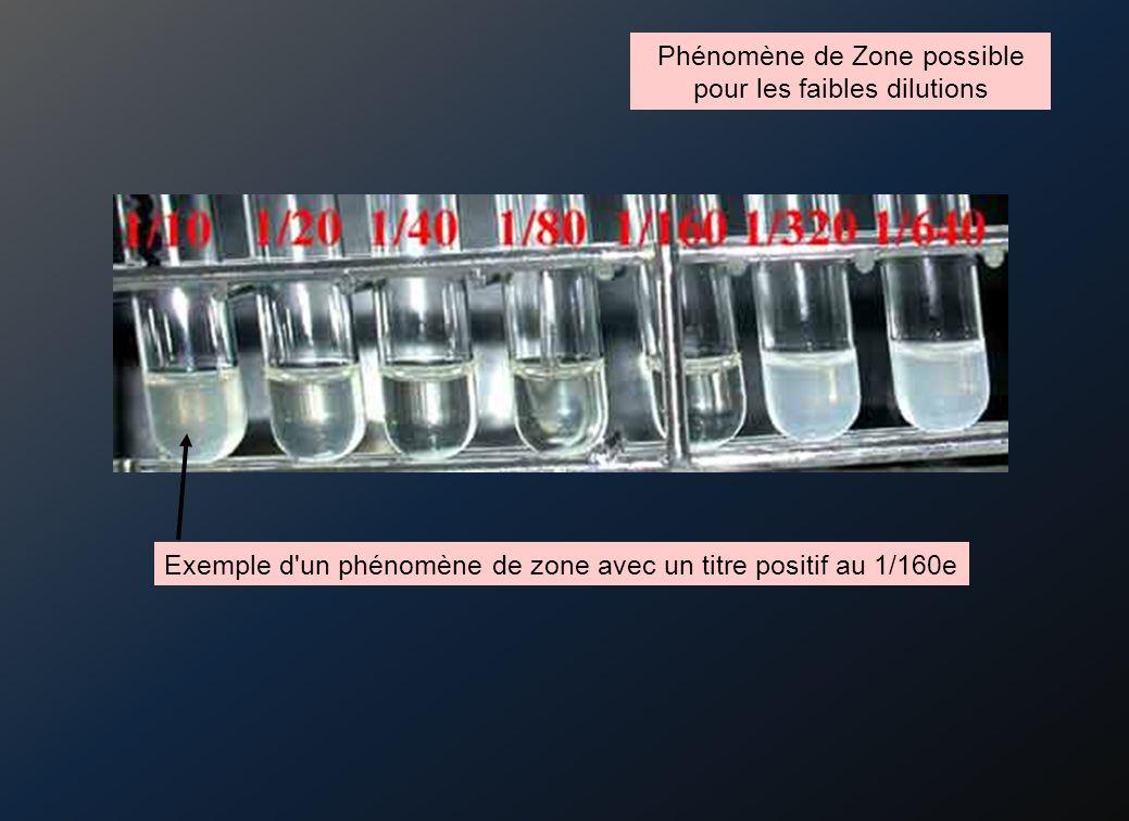 Phénomène de Zone possible pour les faibles dilutions