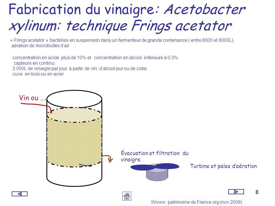 Fabrication du vinaigre: Acetobacter xylinum: technique Frings acetator