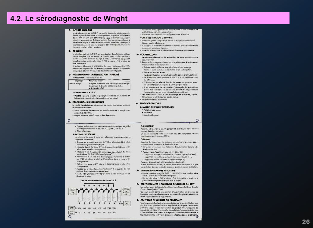 4.2. Le sérodiagnostic de Wright