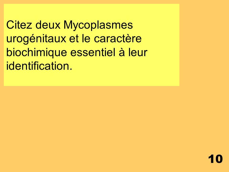 Citez deux Mycoplasmes urogénitaux et le caractère biochimique essentiel à leur identification.
