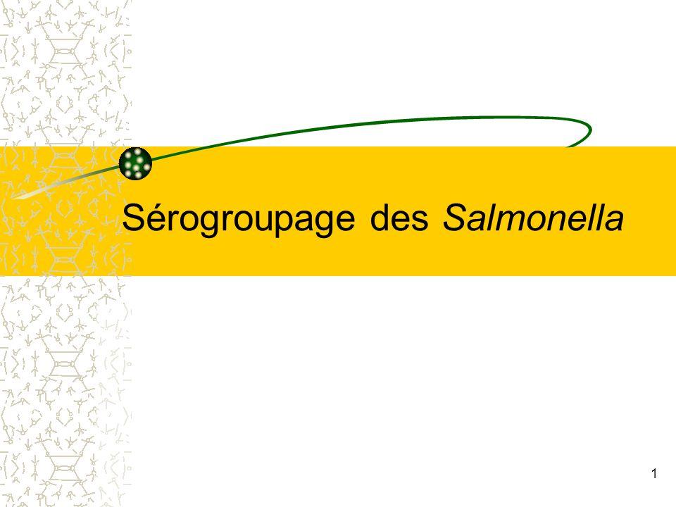 Sérogroupage des Salmonella