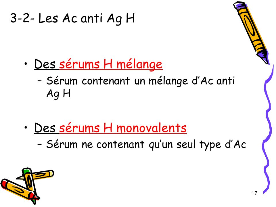 Des sérums H monovalents