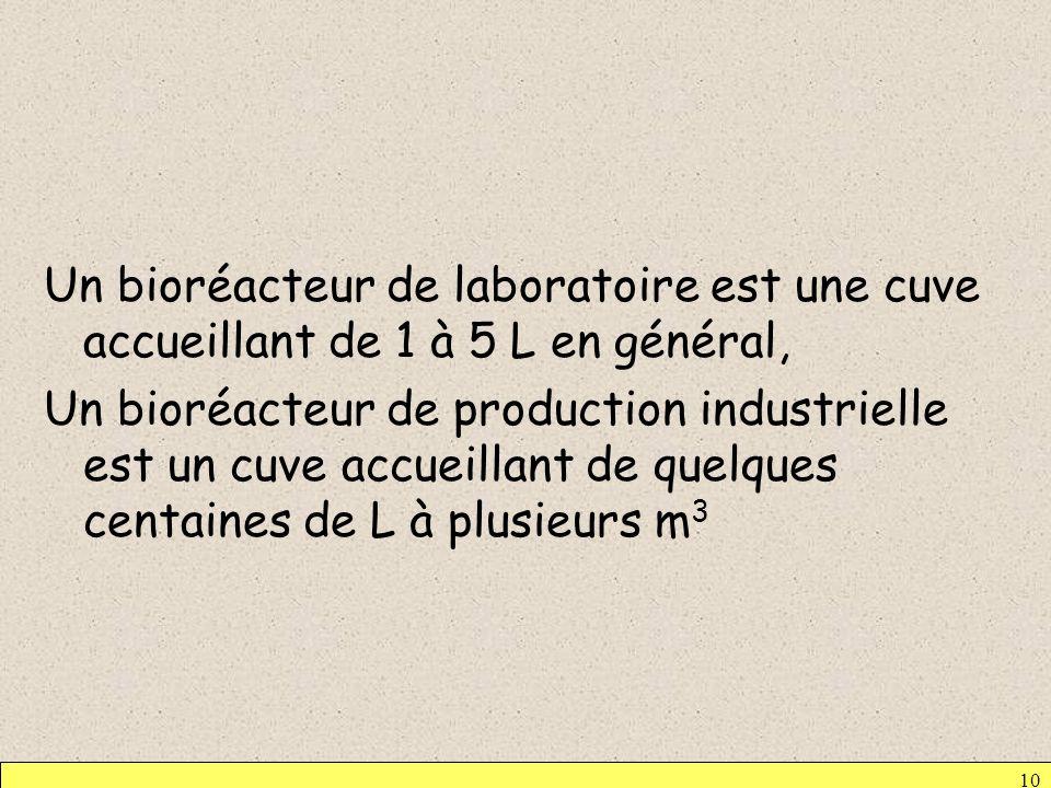 Un bioréacteur de laboratoire est une cuve accueillant de 1 à 5 L en général, Un bioréacteur de production industrielle est un cuve accueillant de quelques centaines de L à plusieurs m3