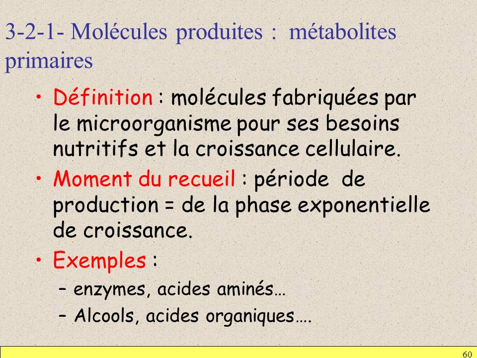 3-2-1- Molécules produites : métabolites primaires