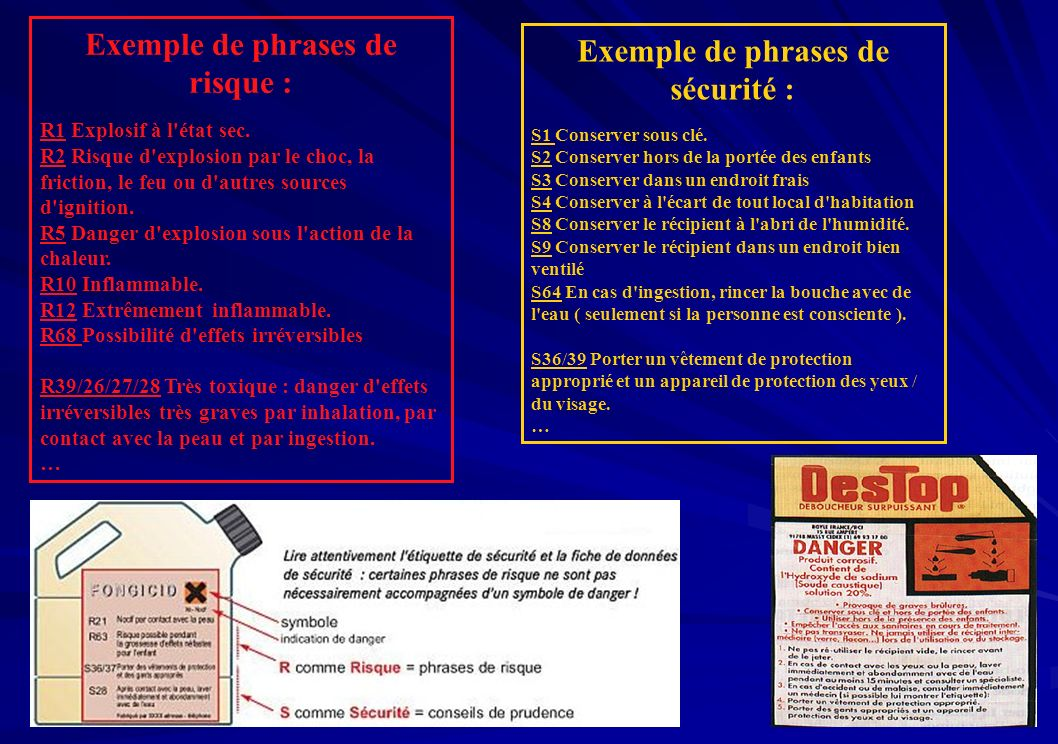Exemple de phrases de risque : Exemple de phrases de sécurité :