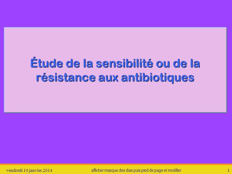 Étude de la sensibilité ou de la résistance aux antibiotiques