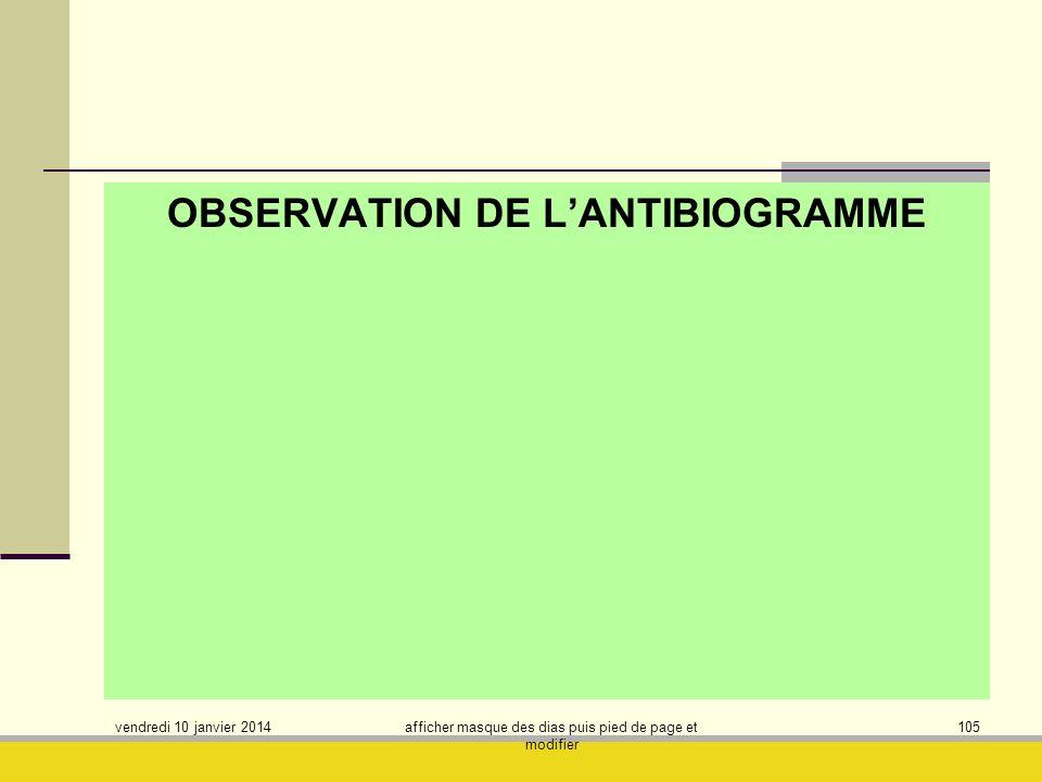 OBSERVATION DE L'ANTIBIOGRAMME