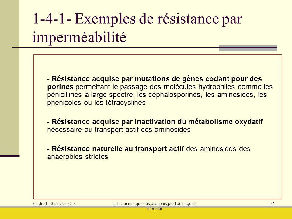1-4-1- Exemples de résistance par imperméabilité