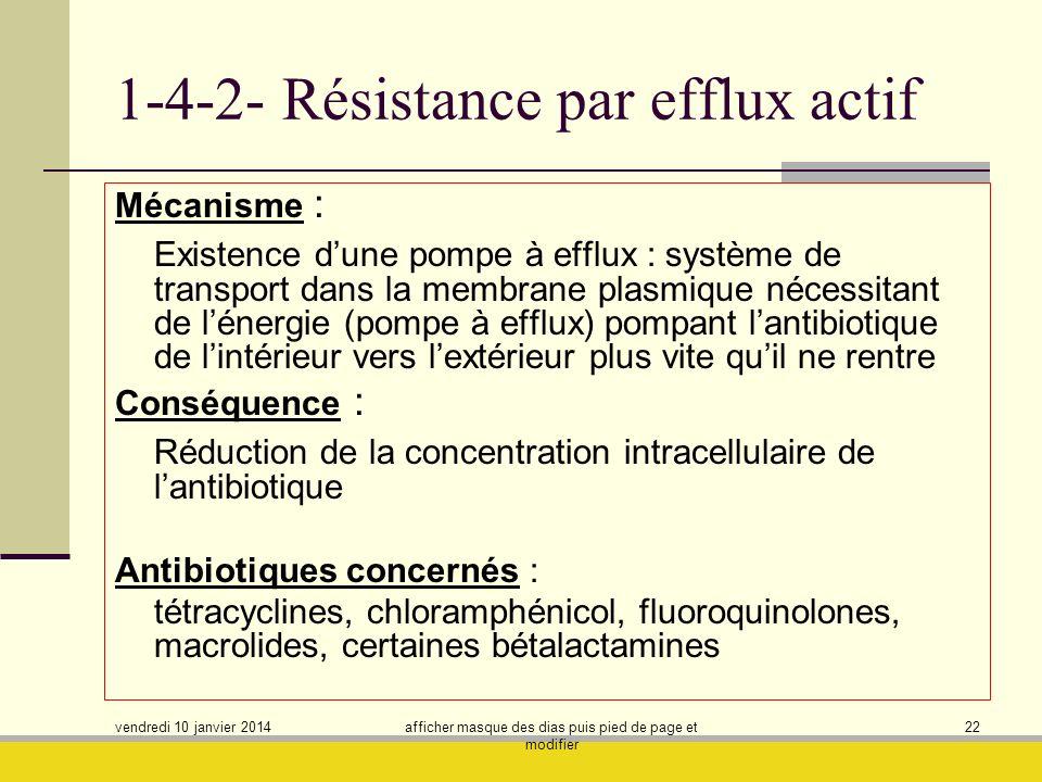 1-4-2- Résistance par efflux actif