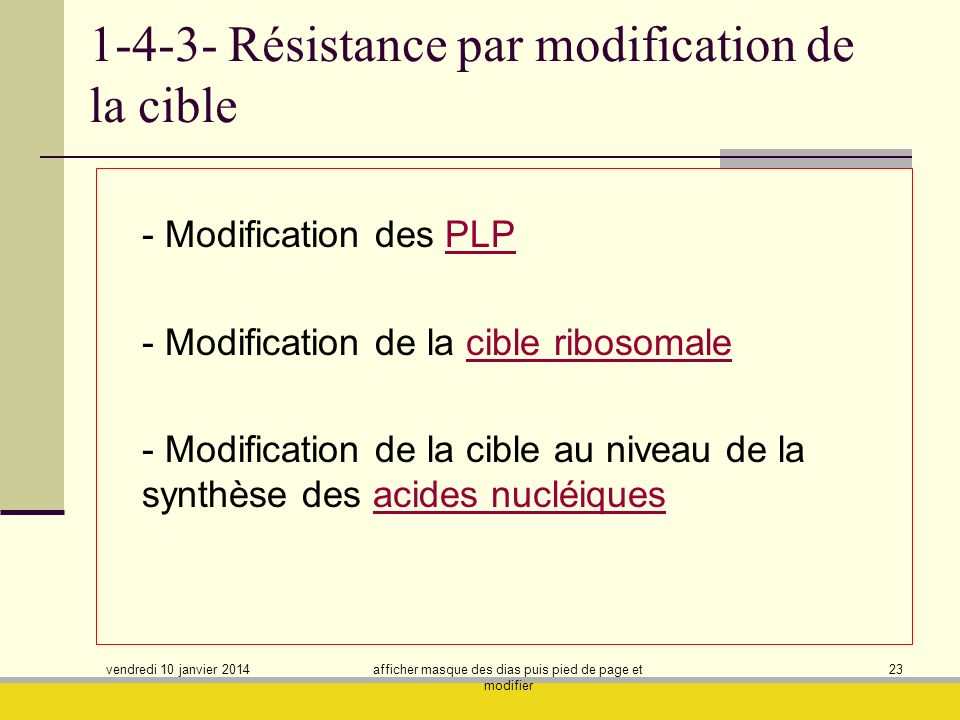 1-4-3- Résistance par modification de la cible