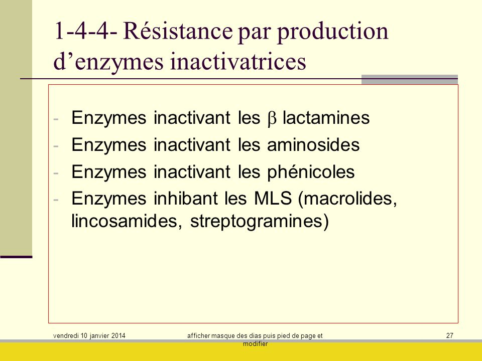 1-4-4- Résistance par production d'enzymes inactivatrices