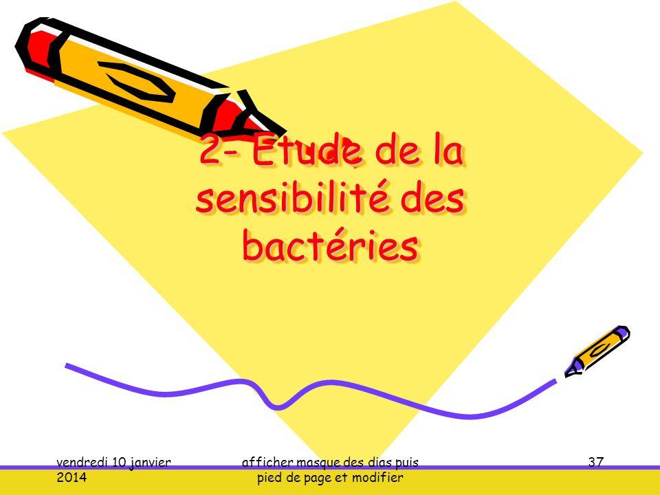 2- Etude de la sensibilité des bactéries