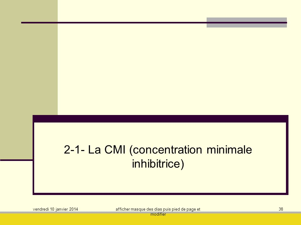 2-1- La CMI (concentration minimale inhibitrice)