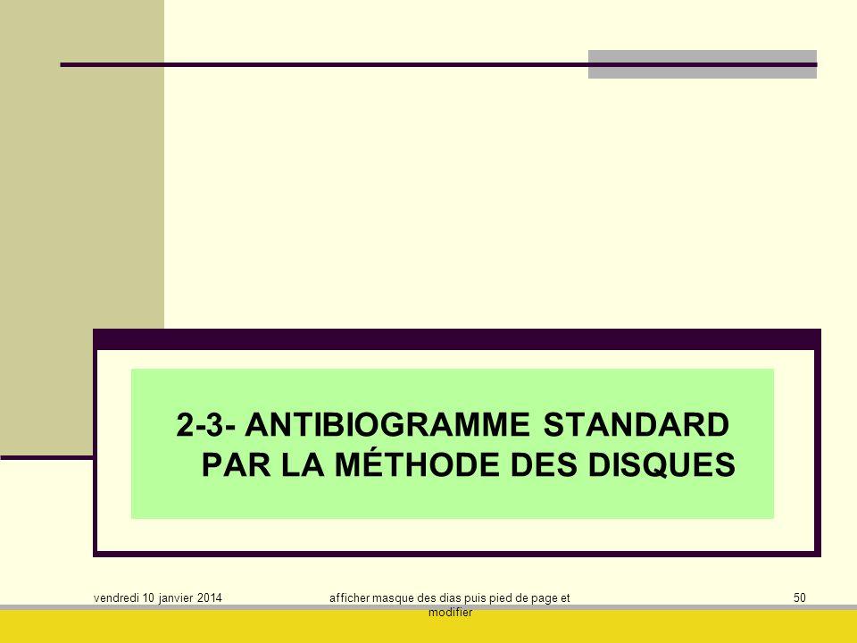 2-3- ANTIBIOGRAMME STANDARD PAR LA MÉTHODE DES DISQUES