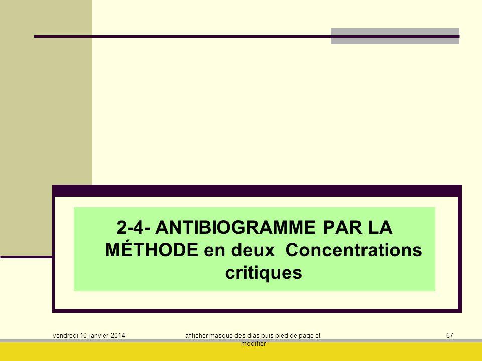 2-4- ANTIBIOGRAMME PAR LA MÉTHODE en deux Concentrations critiques