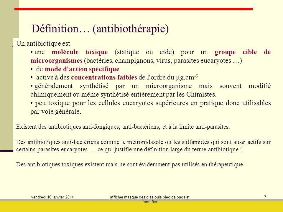 Définition… (antibiothérapie)