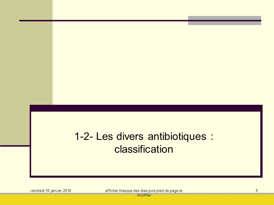 1-2- Les divers antibiotiques : classification