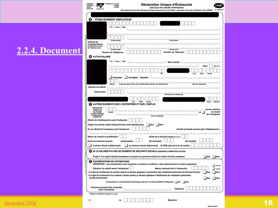 2. L'embauche 2.2.4. Document d'embauche : décembre 2008 Droit