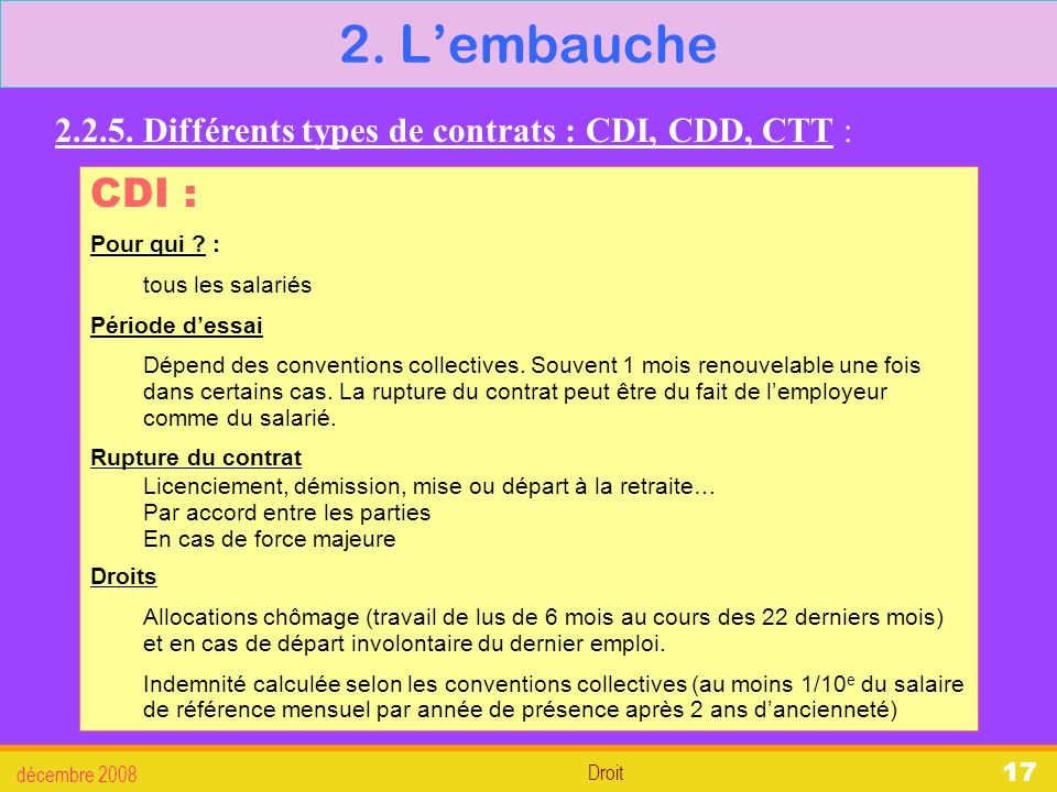 2. L'embauche 2.2.5. Différents types de contrats : CDI, CDD, CTT : CDI : Pour qui : tous les salariés.