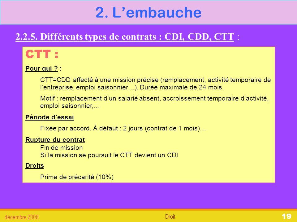 2. L'embauche 2.2.5. Différents types de contrats : CDI, CDD, CTT : CTT : Pour qui :