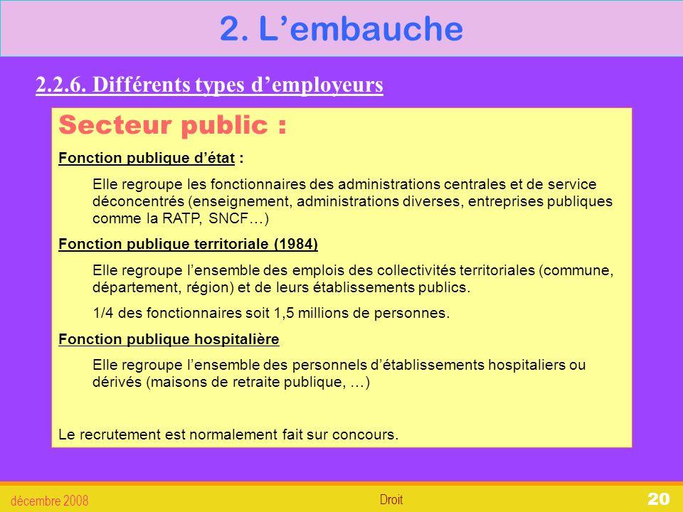 2. L'embauche Secteur public : 2.2.6. Différents types d'employeurs