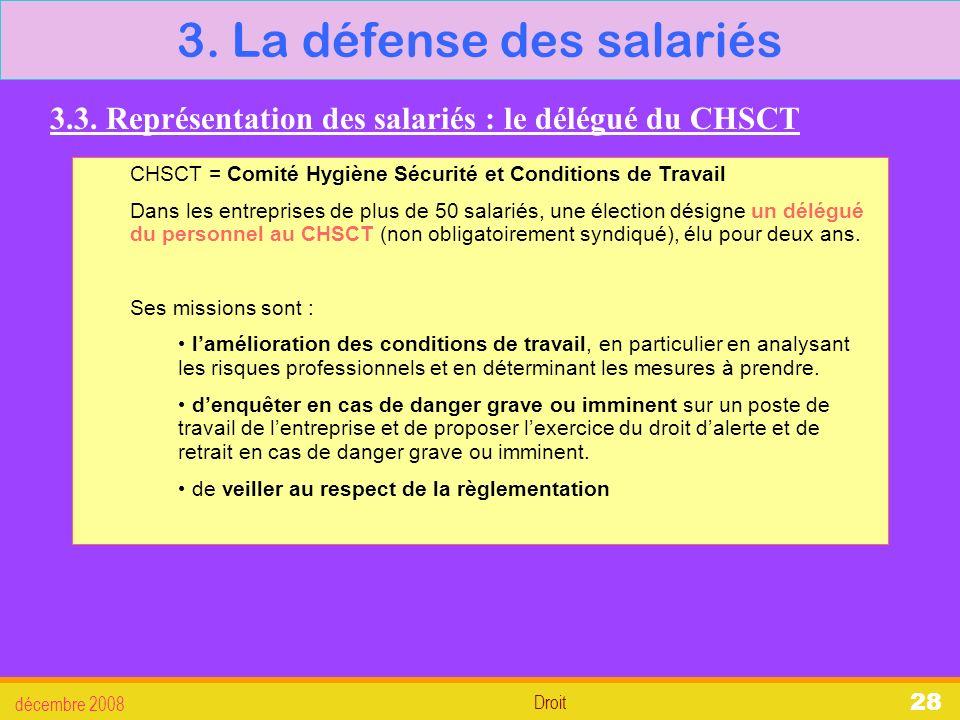 3. La défense des salariés