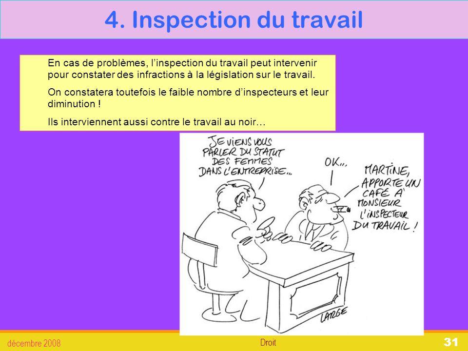 4. Inspection du travail En cas de problèmes, l'inspection du travail peut intervenir pour constater des infractions à la législation sur le travail.
