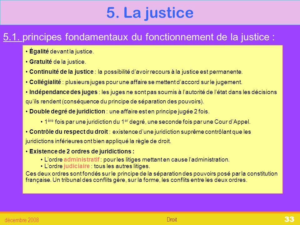 5. La justice 5.1. principes fondamentaux du fonctionnement de la justice : Égalité devant la justice.