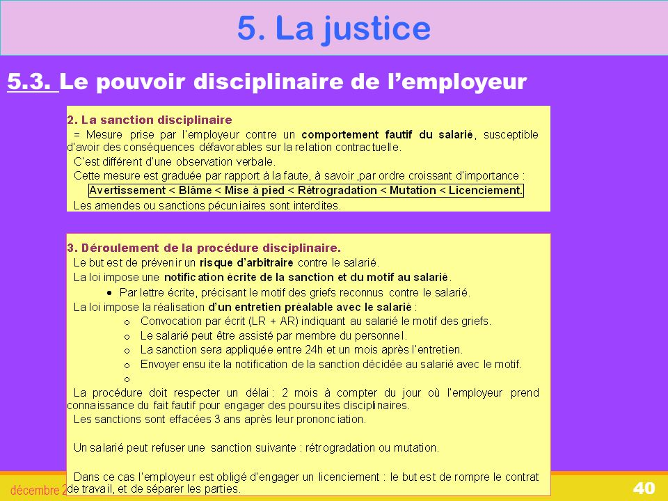 5. La justice 5.3. Le pouvoir disciplinaire de l'employeur