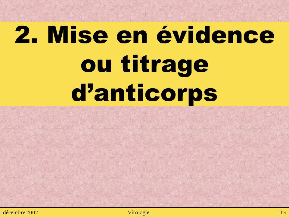2. Mise en évidence ou titrage d'anticorps