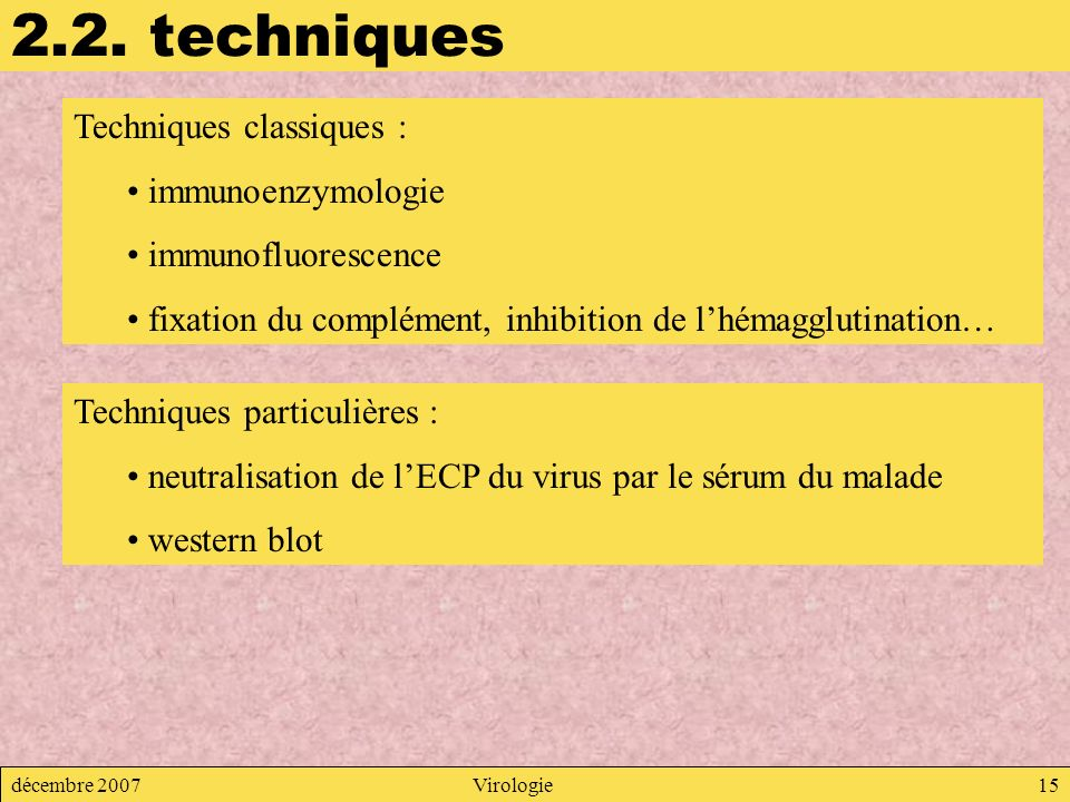 2.2. techniques Techniques classiques : immunoenzymologie