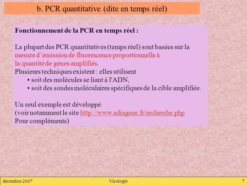 b. PCR quantitative (dite en temps réel)