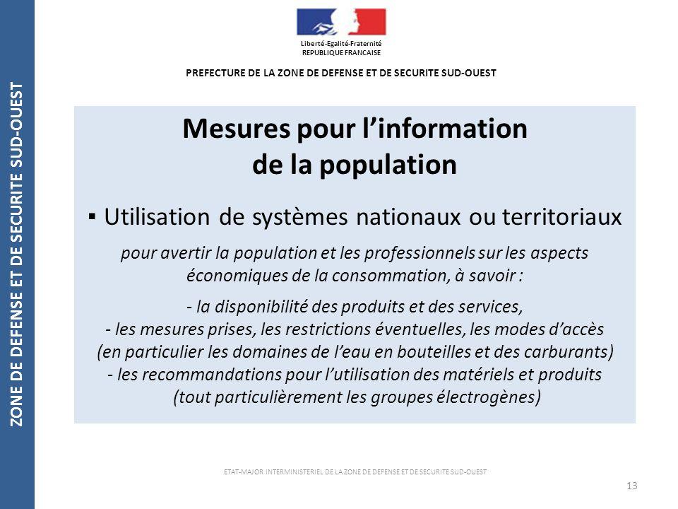Mesures pour l'information de la population