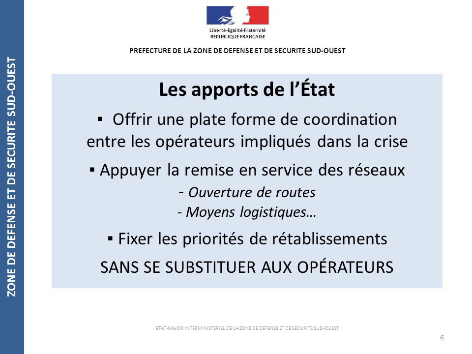 Les apports de l'État ▪ Offrir une plate forme de coordination