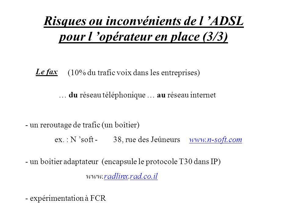 Risques ou inconvénients de l 'ADSL pour l 'opérateur en place (3/3)