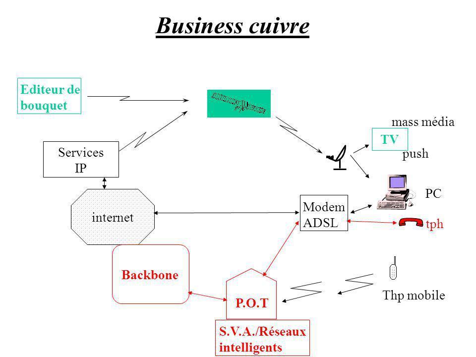 Business cuivre Editeur de bouquet mass média TV Services push IP PC