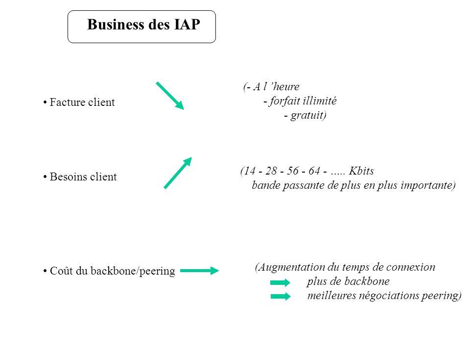 Business des IAP (- A l 'heure - forfait illimité - gratuit)