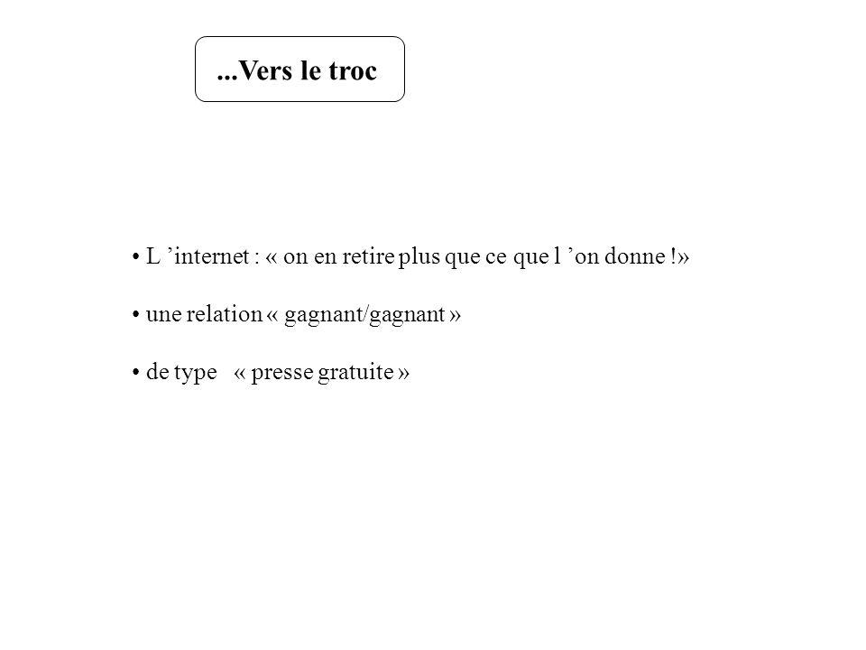 ...Vers le trocL 'internet : « on en retire plus que ce que l 'on donne !» une relation « gagnant/gagnant »