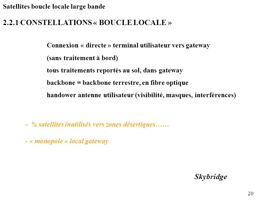 2.2.1 CONSTELLATIONS « BOUCLE LOCALE »
