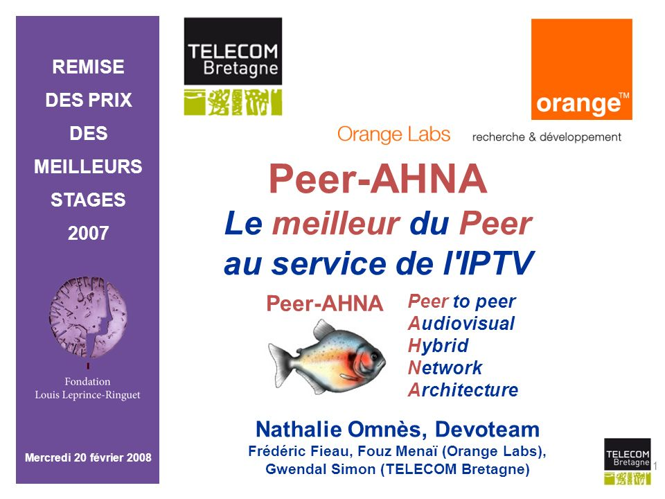Peer-AHNA Le meilleur du Peer au service de l IPTV Peer-AHNA