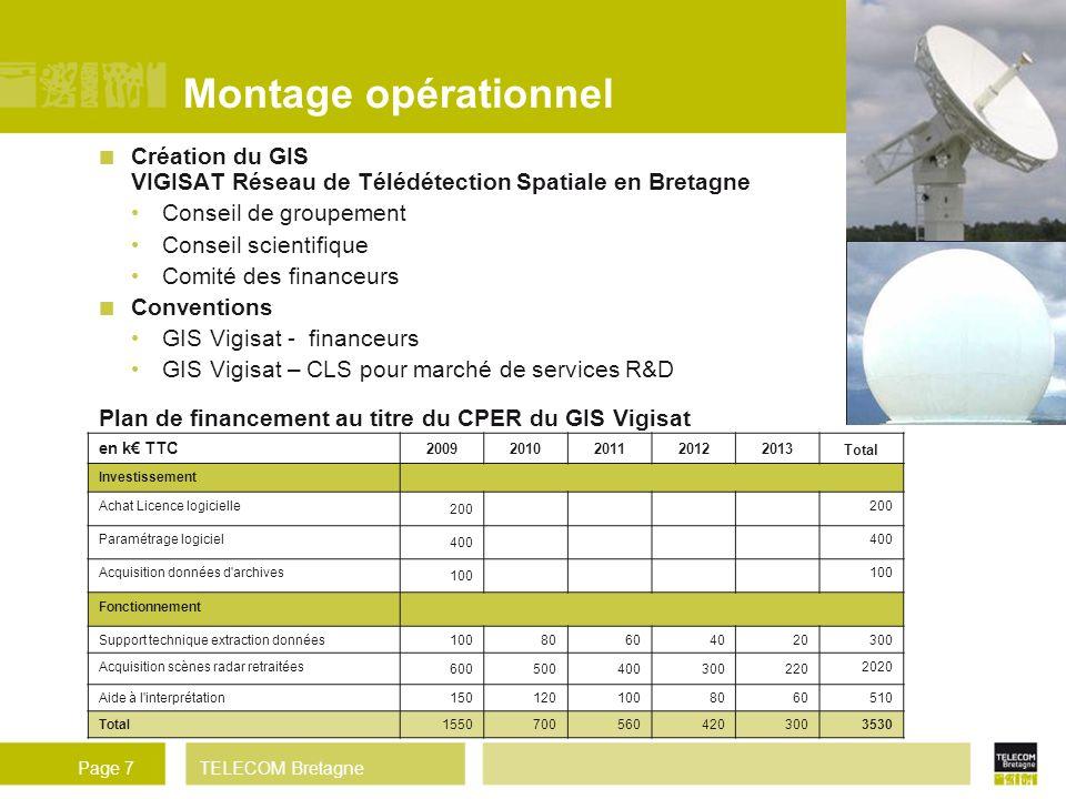 Montage opérationnel Création du GIS VIGISAT Réseau de Télédétection Spatiale en Bretagne. Conseil de groupement.