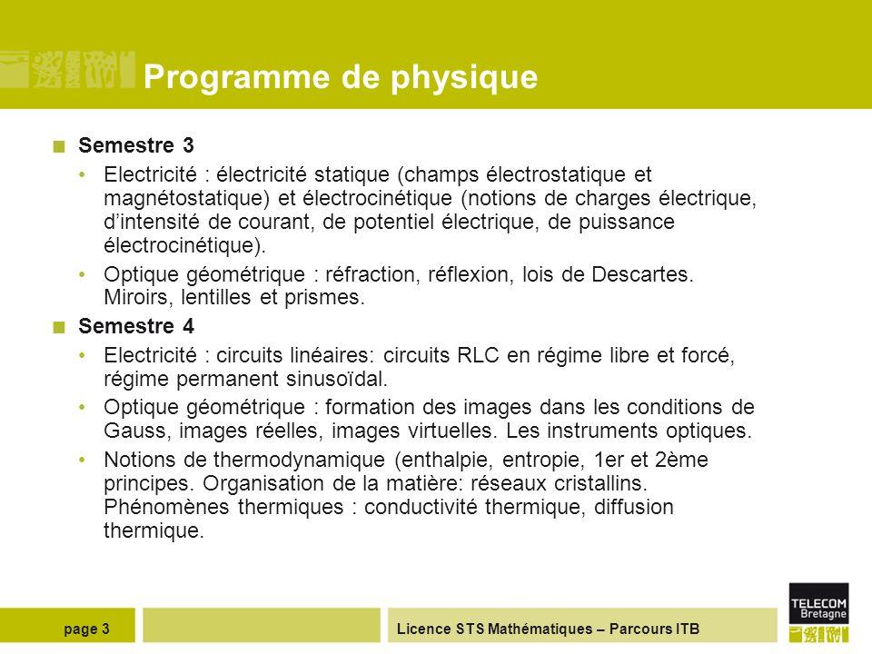 Programme de physique Semestre 3