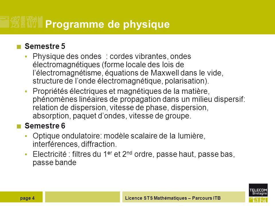 Programme de physique Semestre 5